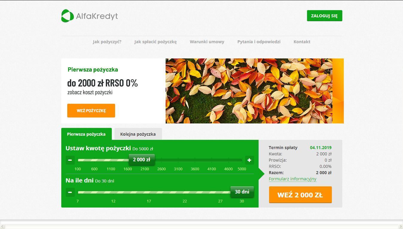 Strona Alfa Kredyt